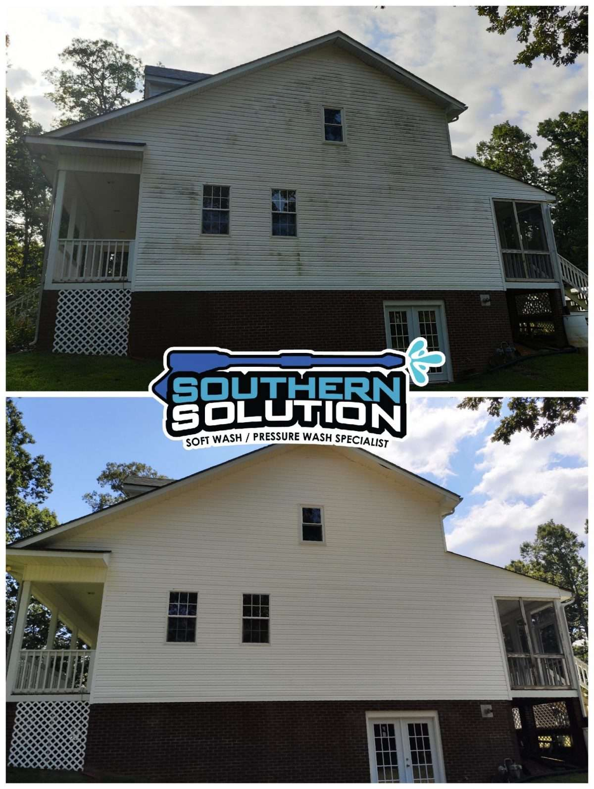 Soft washing vinyl siding