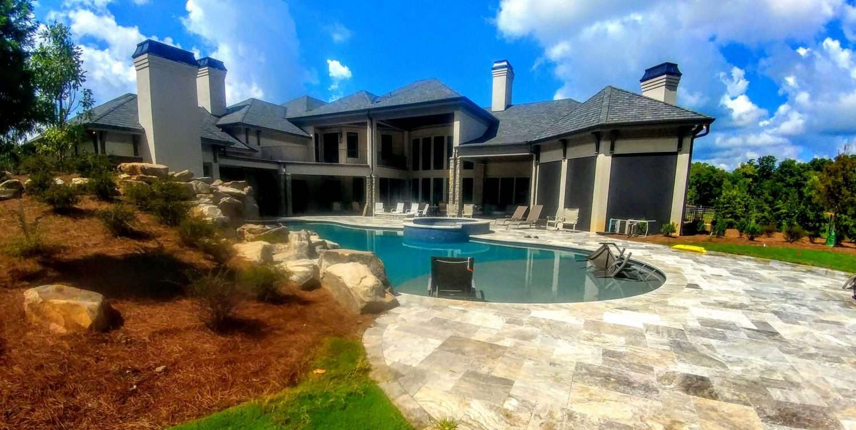 Travertine stone pool patio cleaning